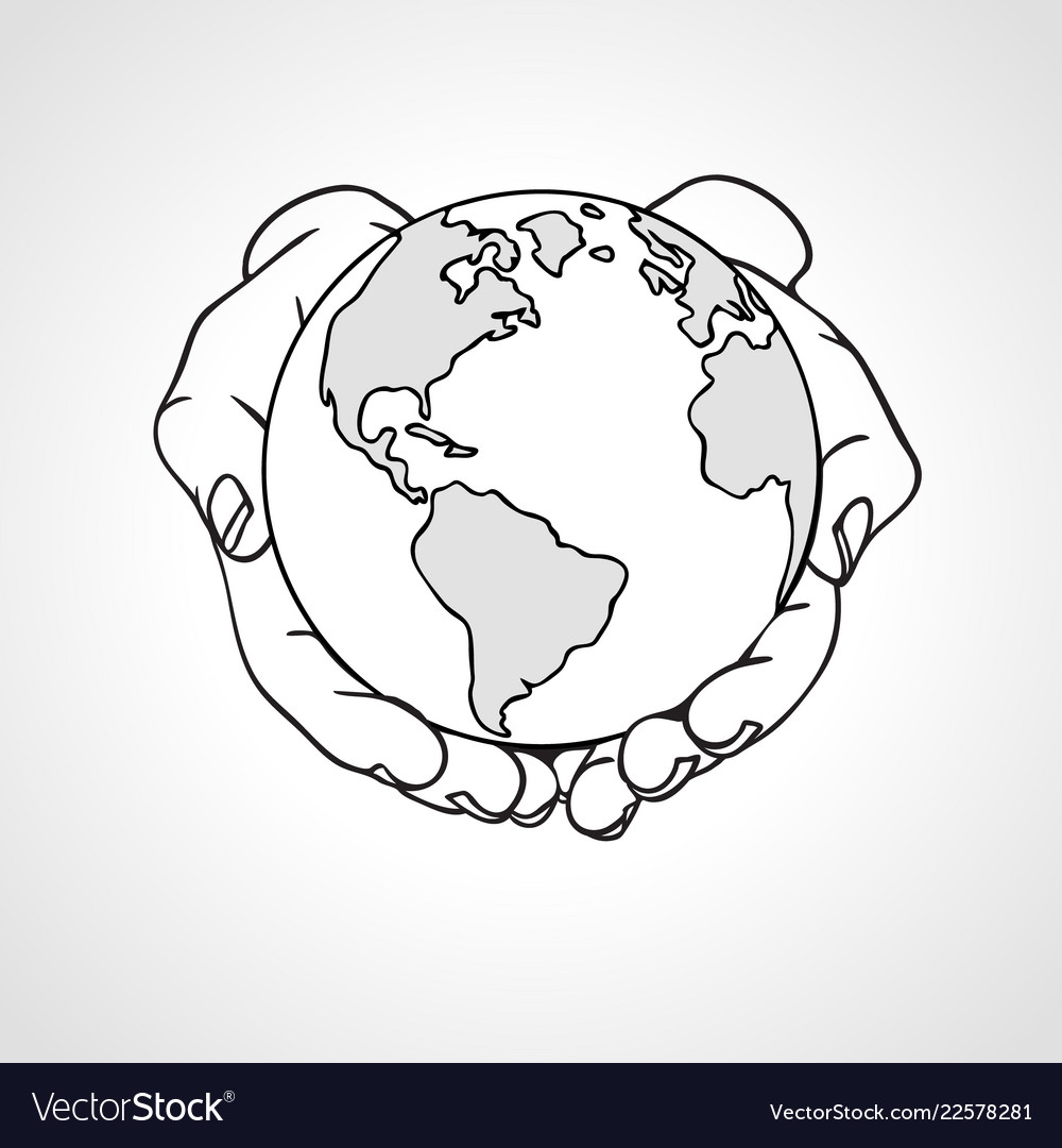 Hands holding the earth two palms hold the globe