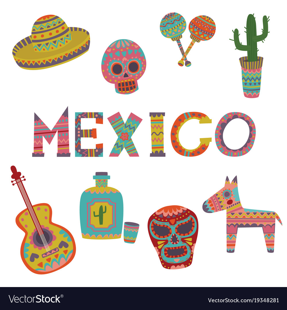 Mexican Culture  >> Mexico Set Symbols Of Mexican Culture Cartoon Vector Image