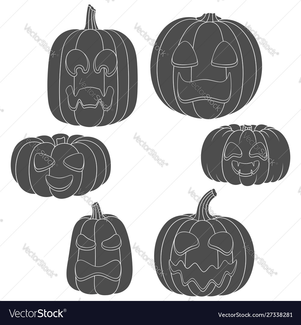 Set pumpkins with faces for halloween