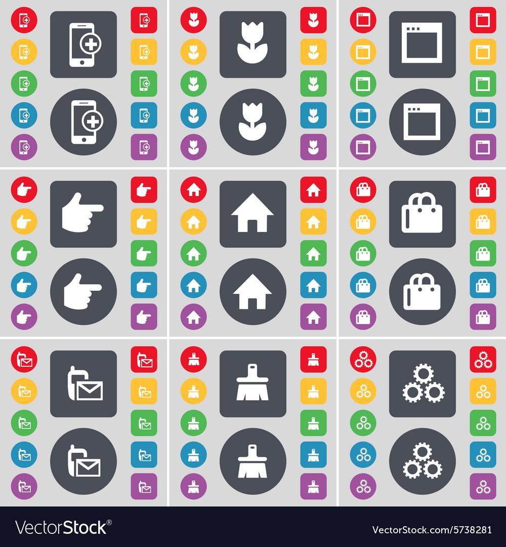 Smartphone Flower Window Hand House Shopping bag vector image