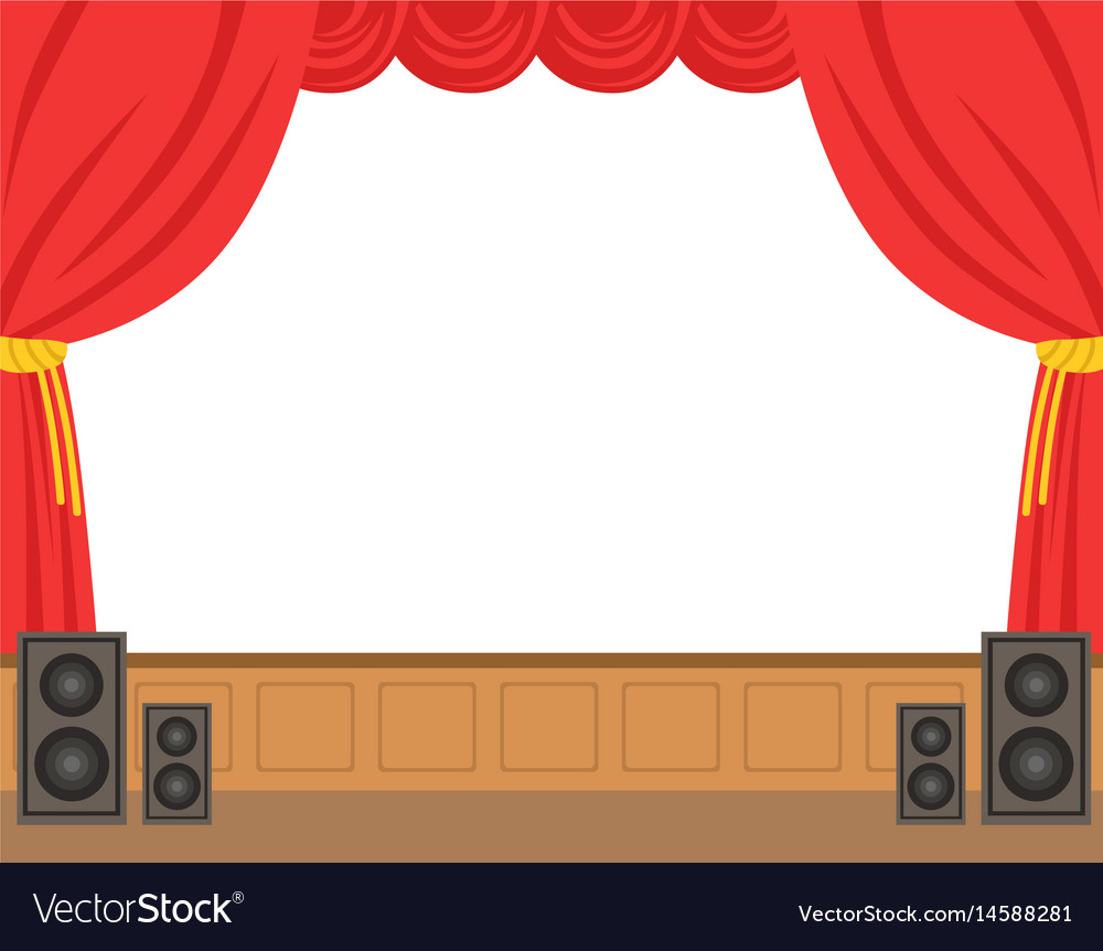 Theater stage with opened red curtain colorful