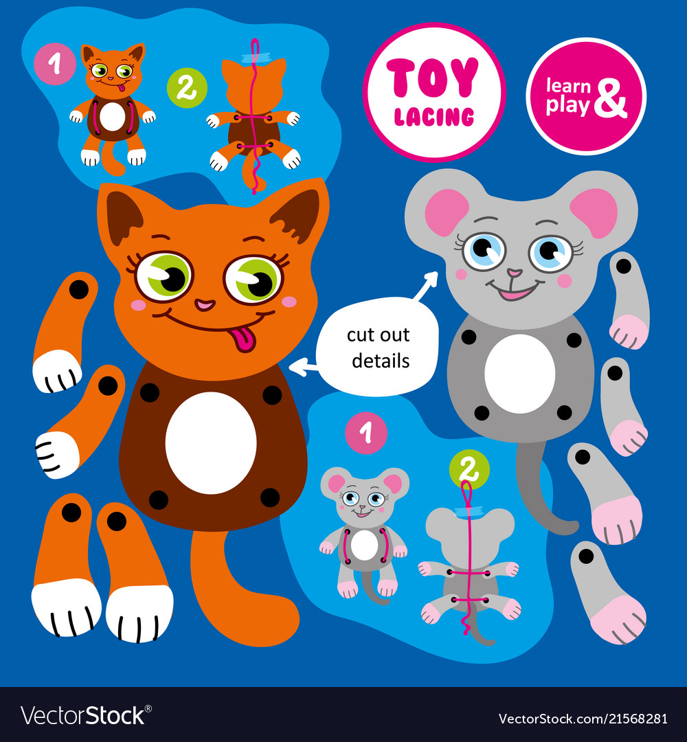 Toy lacing made by hand moving cat and mouse