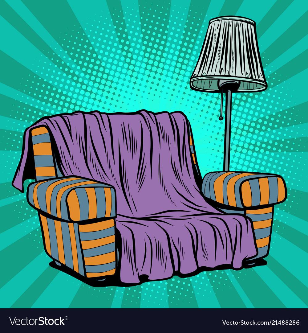 Armchair sofa with floor lamp