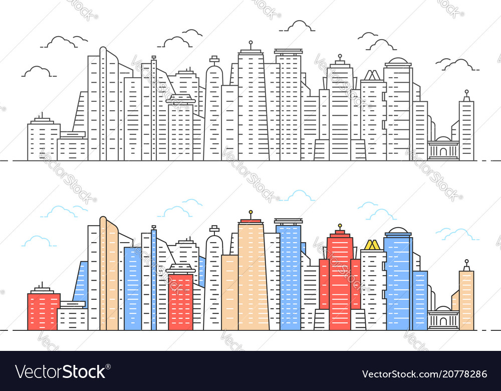 Black and color linear modern city view
