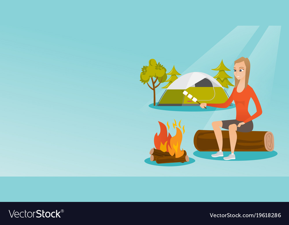 Caucasian Girl Roasting Marshmallow Over Campfire Vector Image