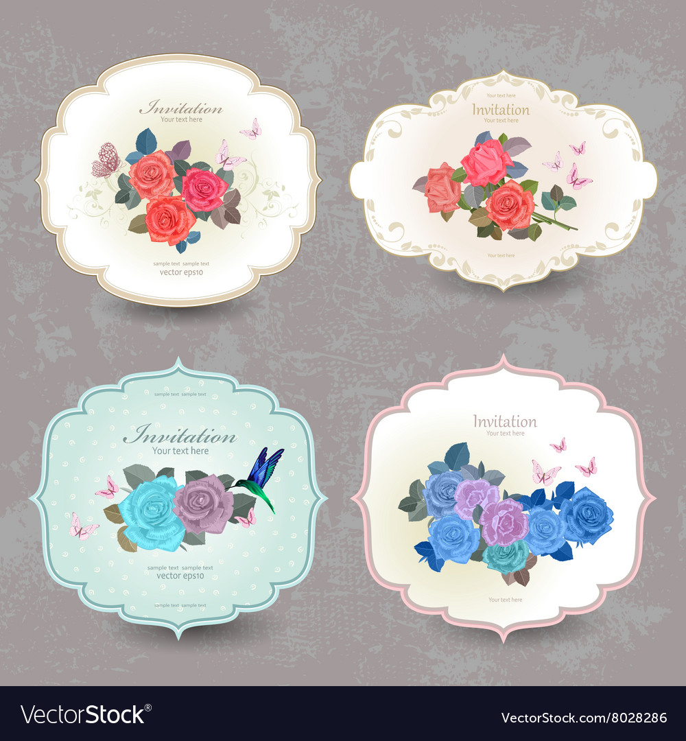 Collection vintage cards with blue roses for your