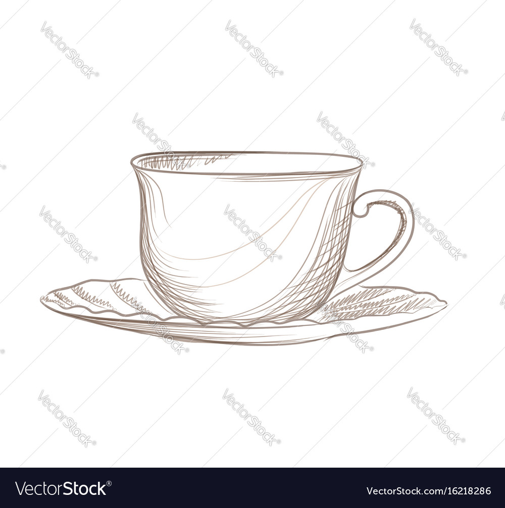 Cup of coffee engraving isolated coffee break icon vector image