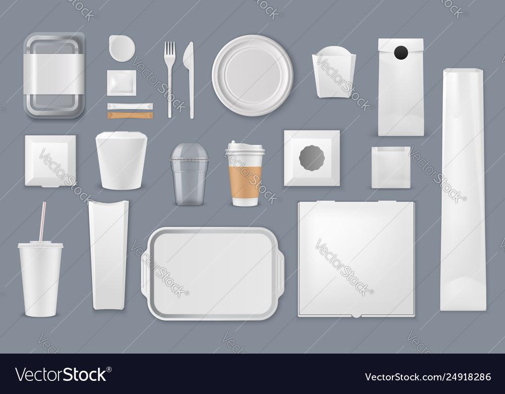 Food packaging box bag and cup mockup templates