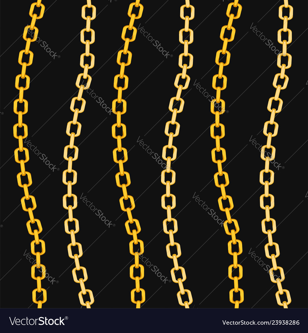Golden chains fashion seamless pattern on black