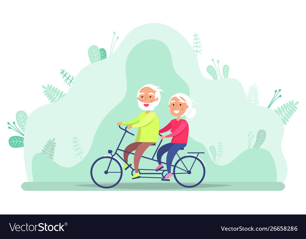 Grandparents on bicycle riding senior