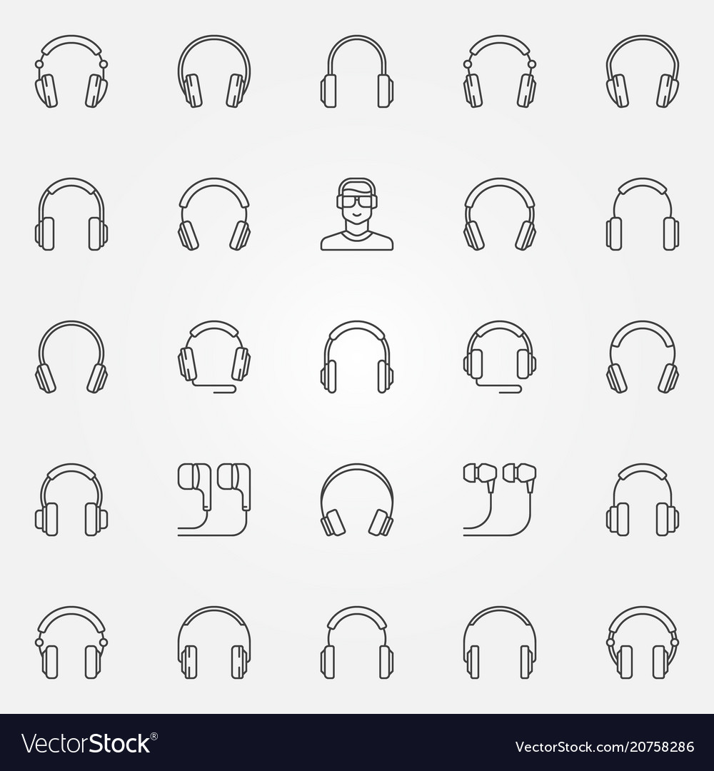 Headphones icons set earphones outline