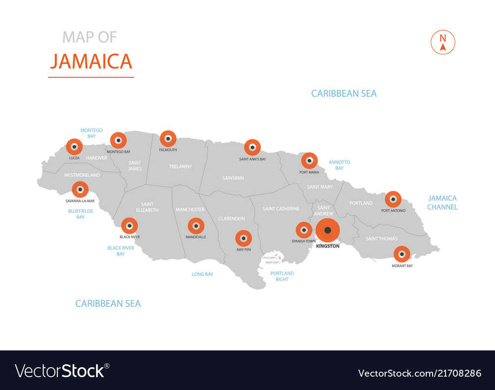 Jamaica map with administrative divisions