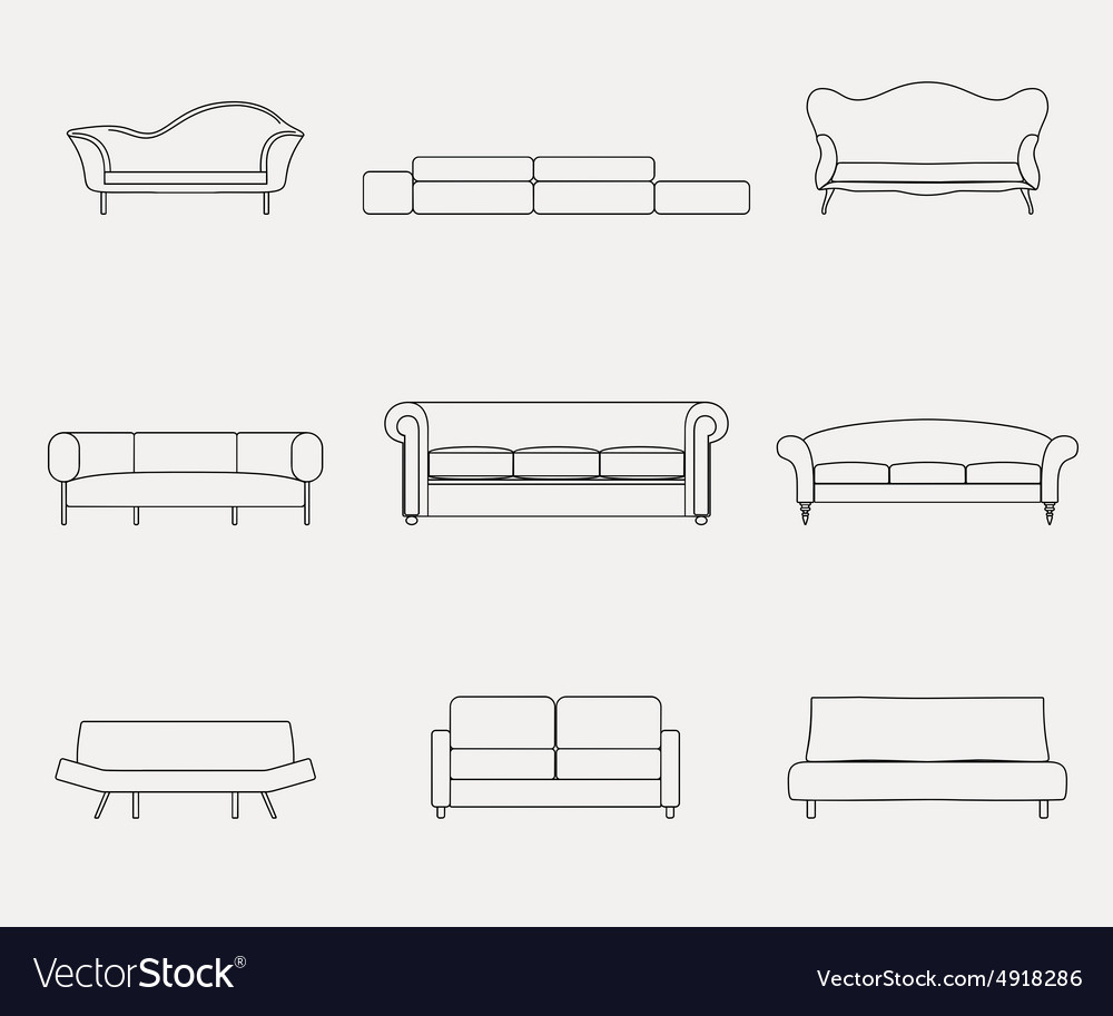Modern luxury sofas and couches furniture icons