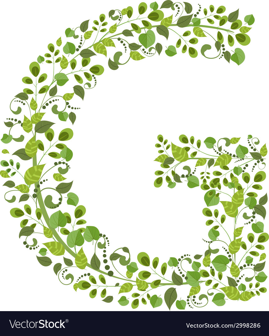 Spring green leaves eco letter G Royalty Free Vector Image