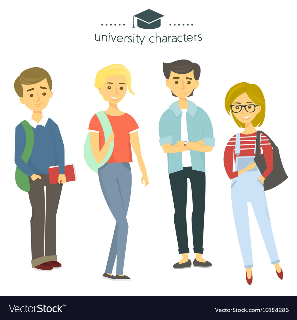 Student group isolated on white University