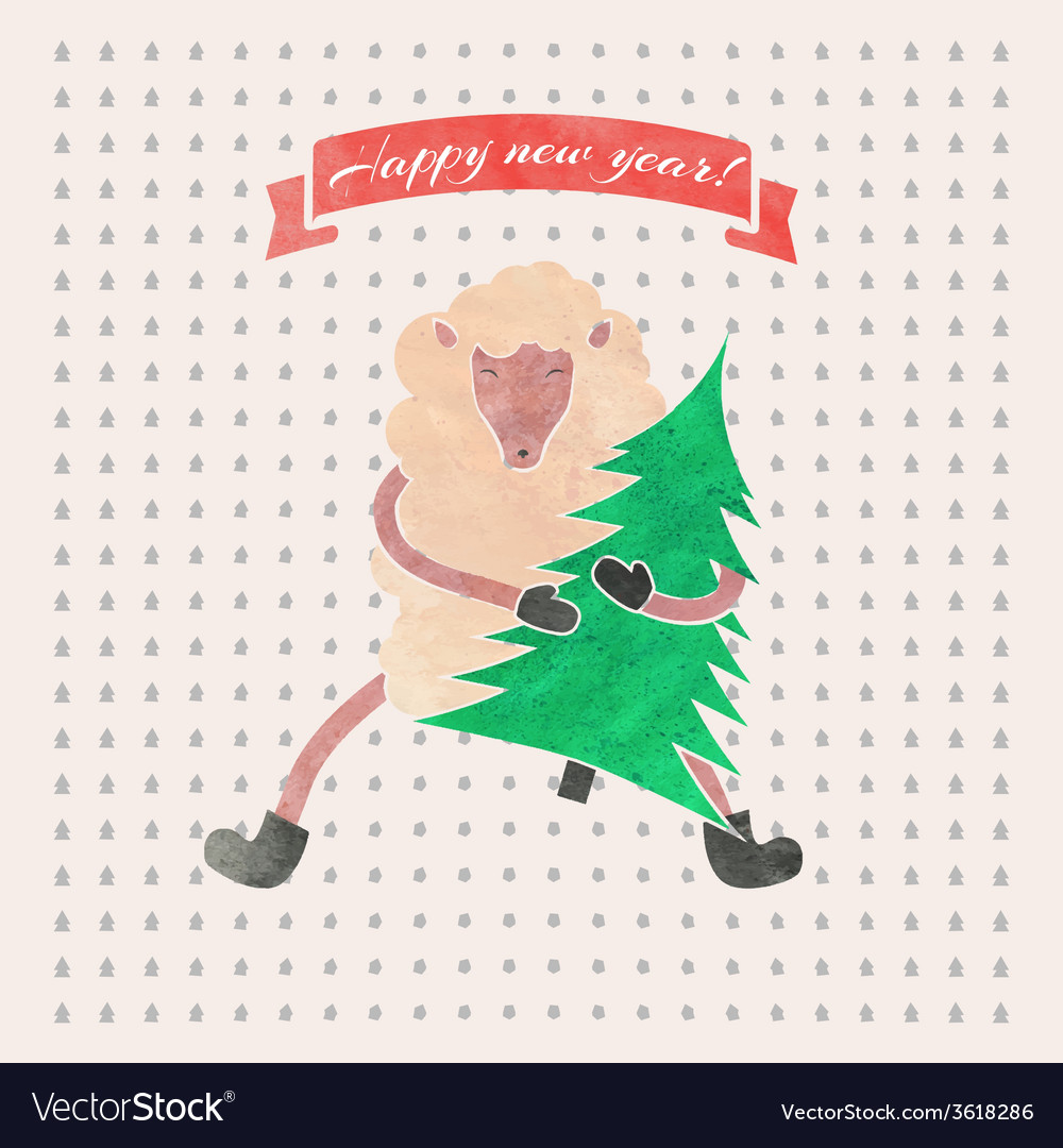 - Watercolor New Year And Christmas Print Funny Vector Image