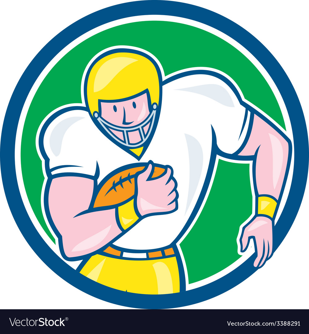 American Football Fullback Circle Retro