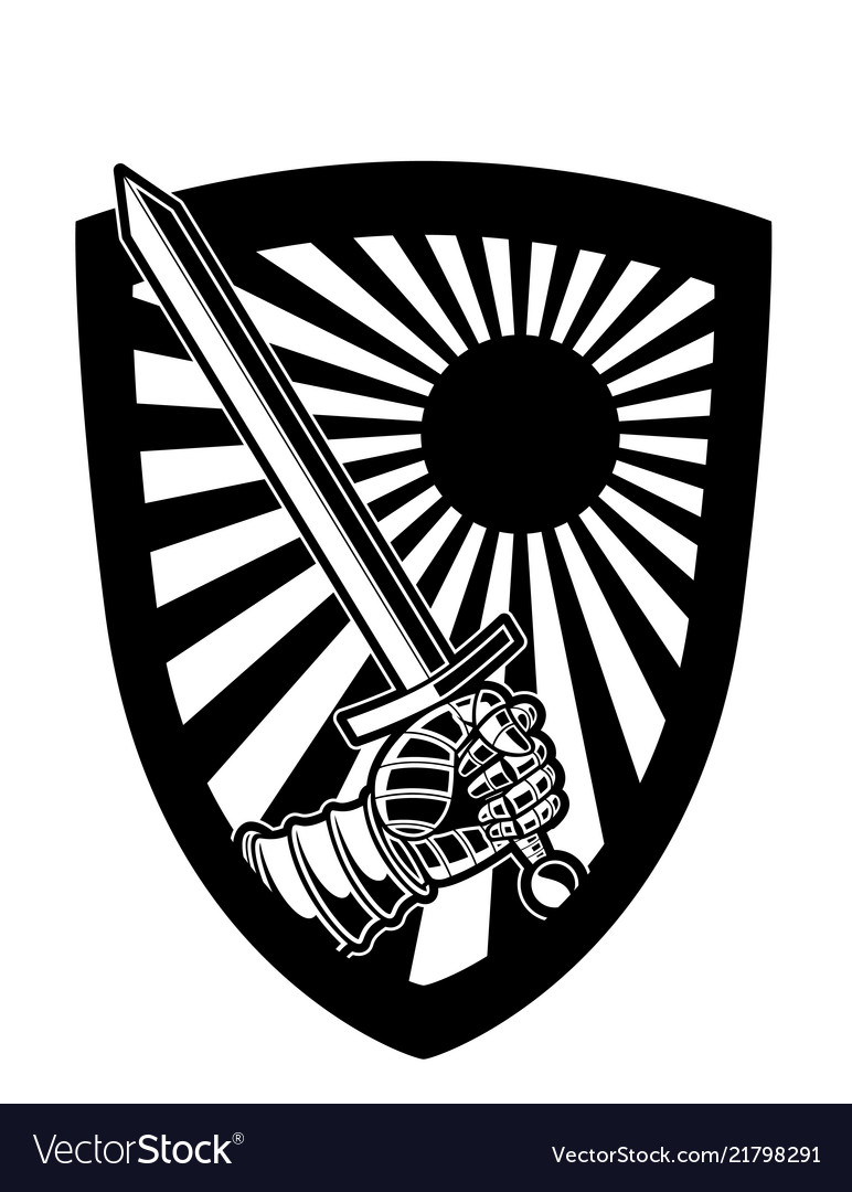 Black and white shield and sword logo or ic Vector Image