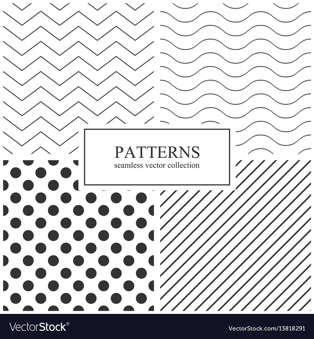 Collection simple seamless geometric patterns