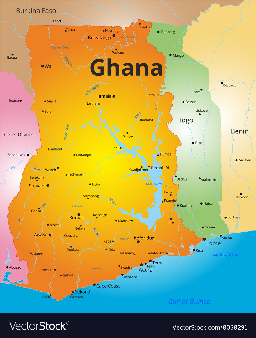 Color map of Ghana