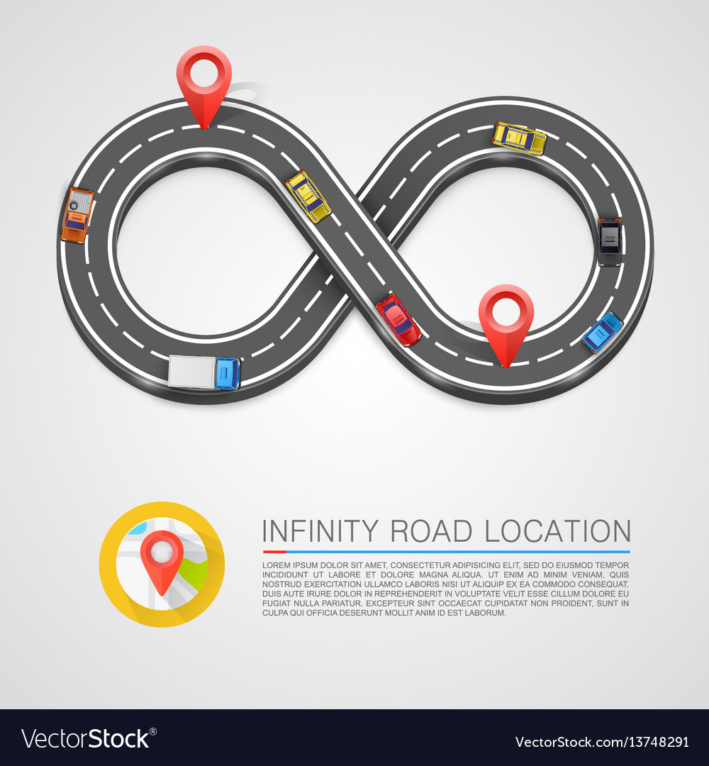 Infinity road location vector image