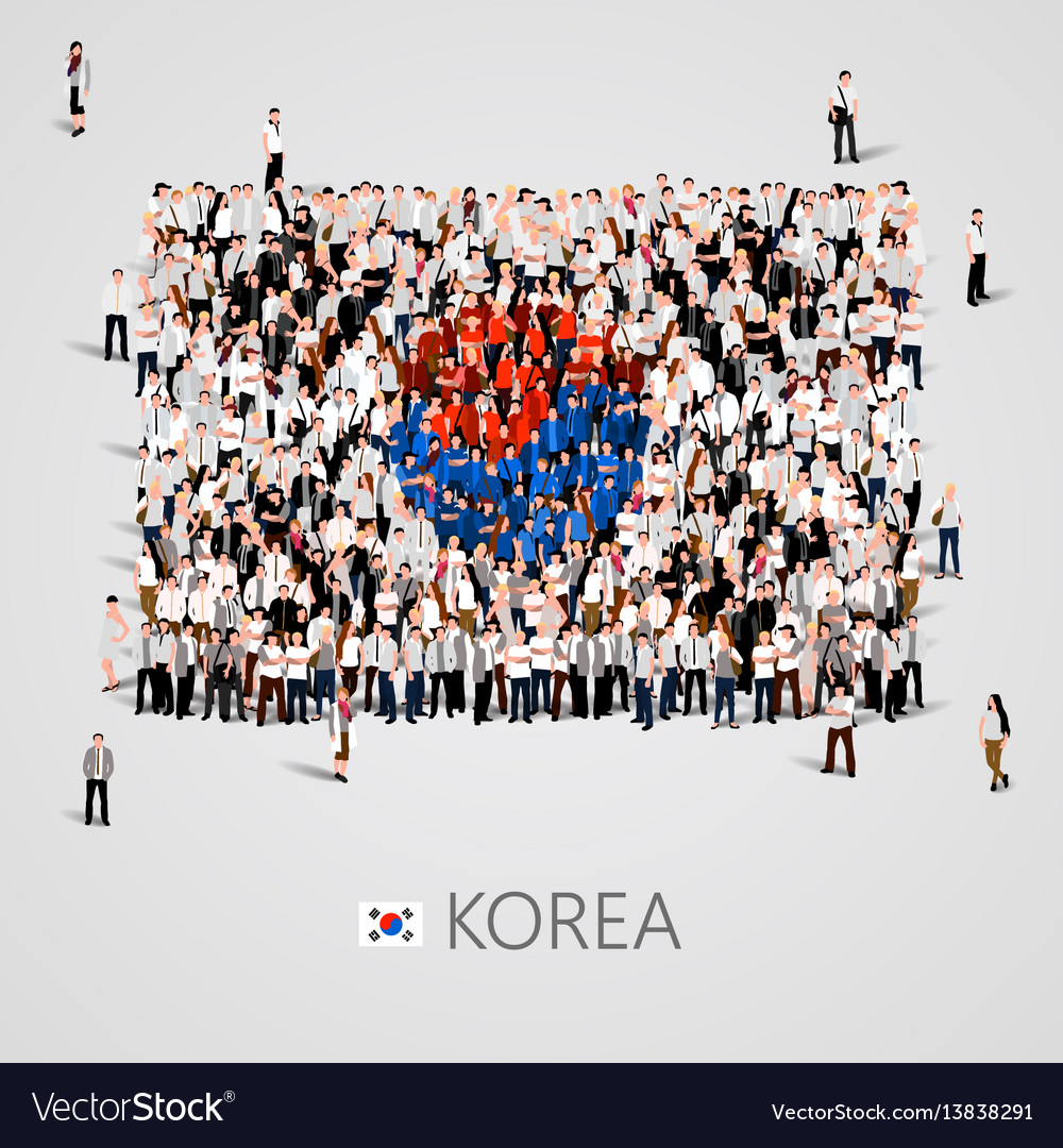 Large group of people in the korea flag shape