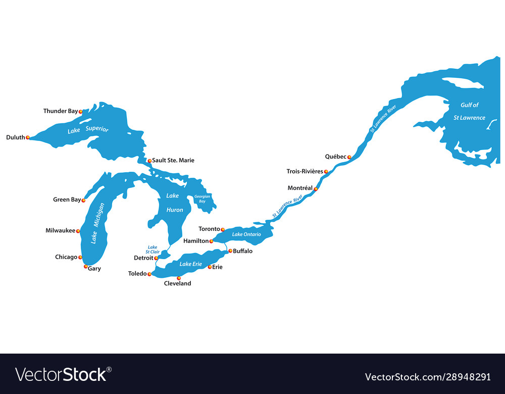 Map great lakes and st lawrence river map