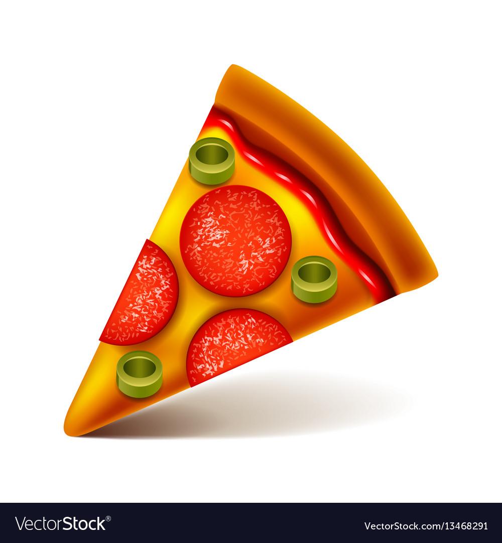 Pepperoni pizza slice isolated on white