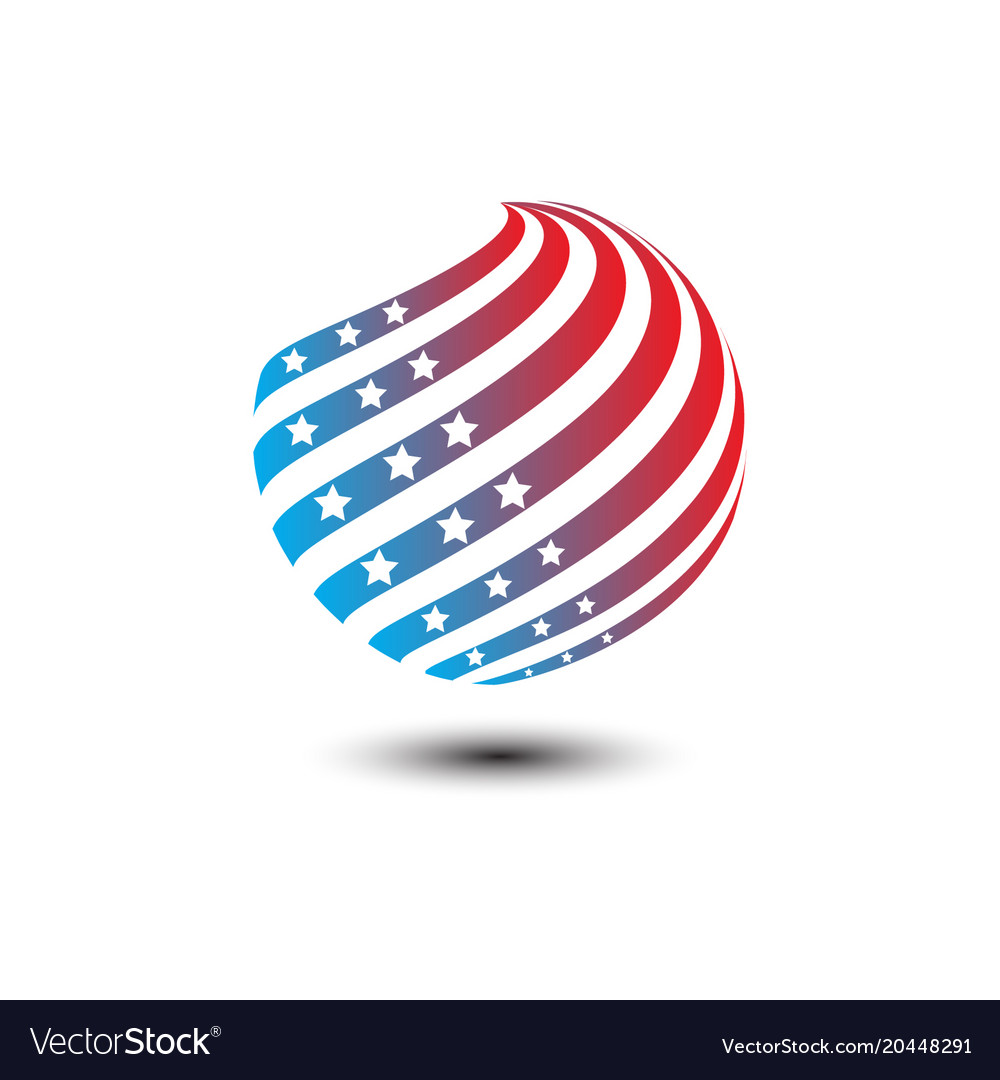 Round circle shape american flag icon
