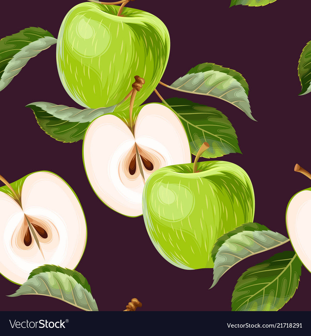 Seamless pattern with green apples and leaves