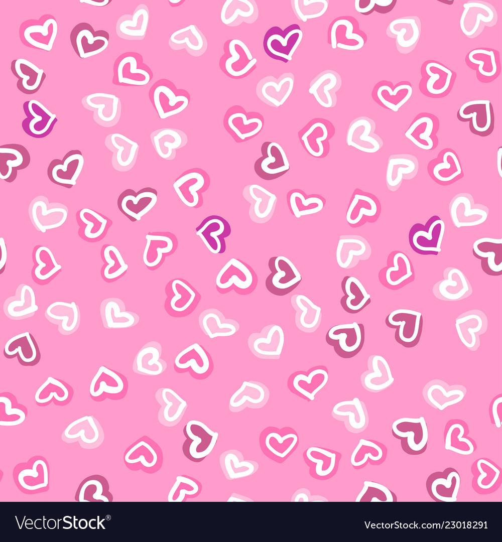 Seamless pattern with hand drawn hearts happy