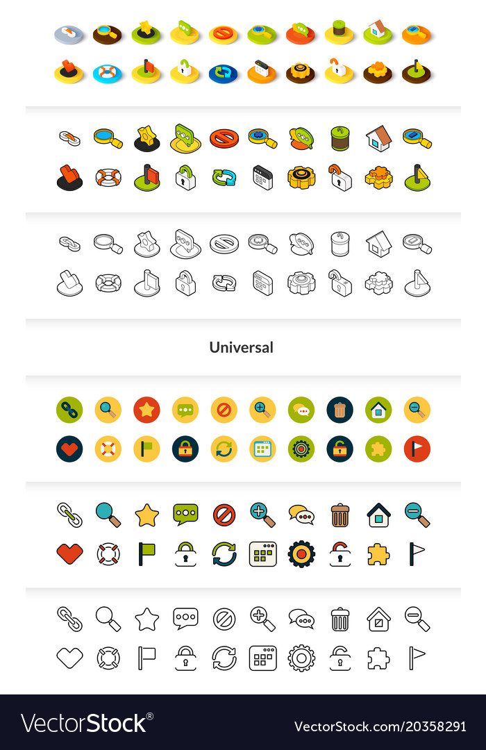 Set of icons in different style - isometric flat