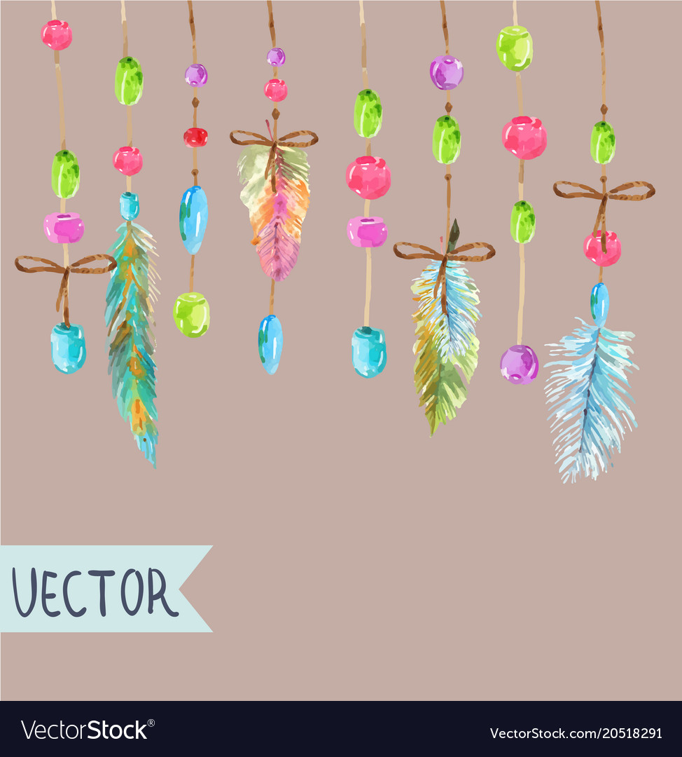Watercolor beautiful dream catcher design