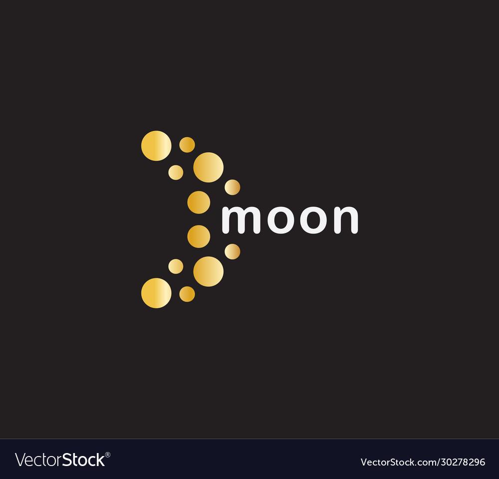 Abstract moon icon orange circles on black