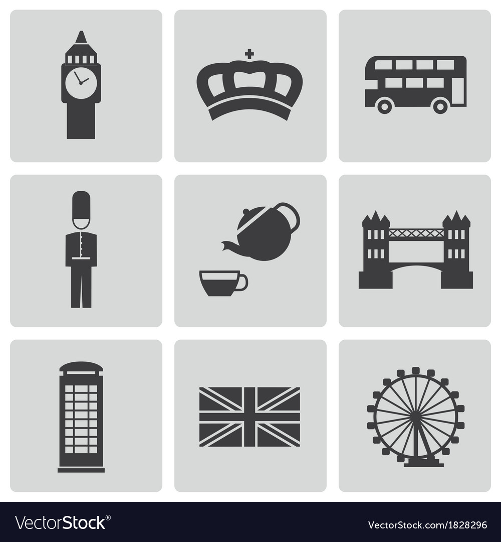 Black london icons set