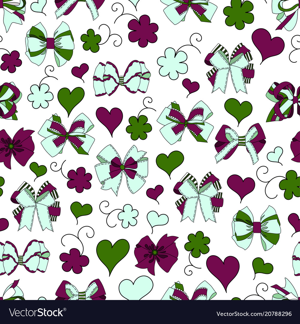 Bow ribbon heart flowers seamless pattern