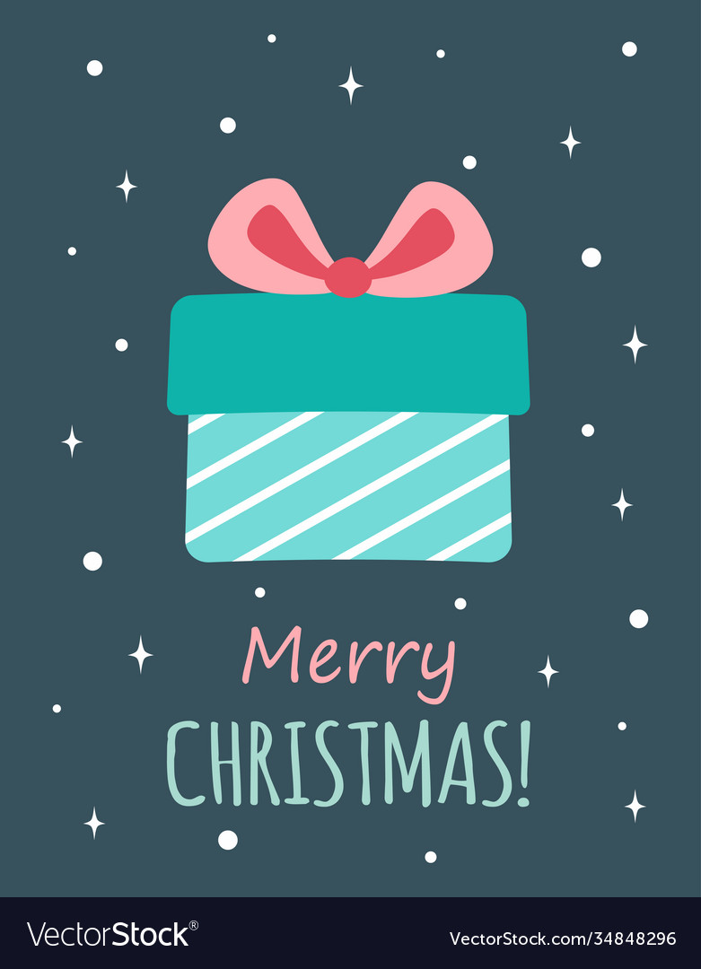 Christmas greeting card with cute gift