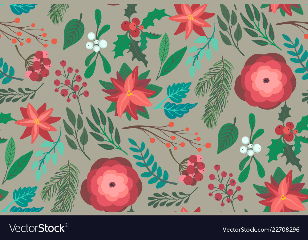 Christmas seamless pattern with flowers
