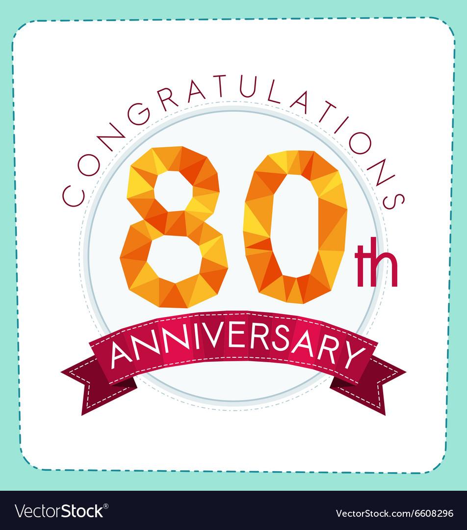 Colorful polygonal anniversary logo 3 080