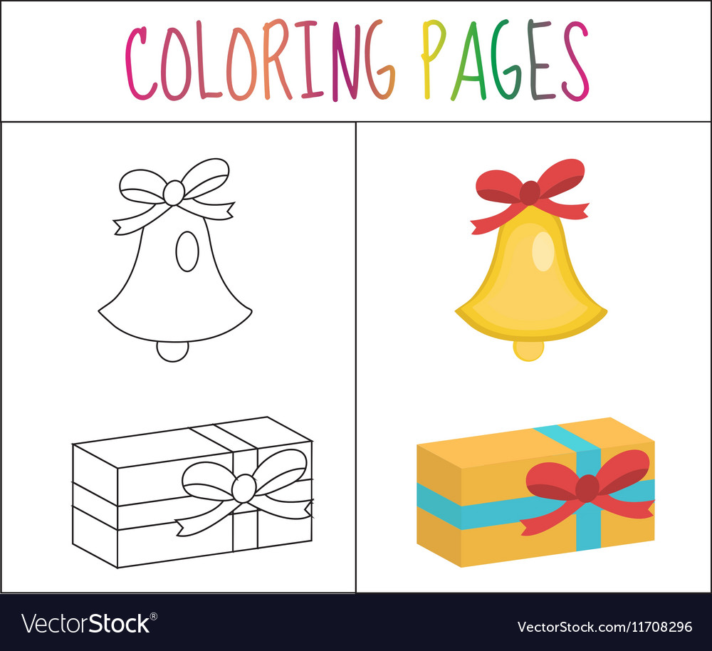Coloring Book Page Christmas Bell Gift Sketch Vector Image