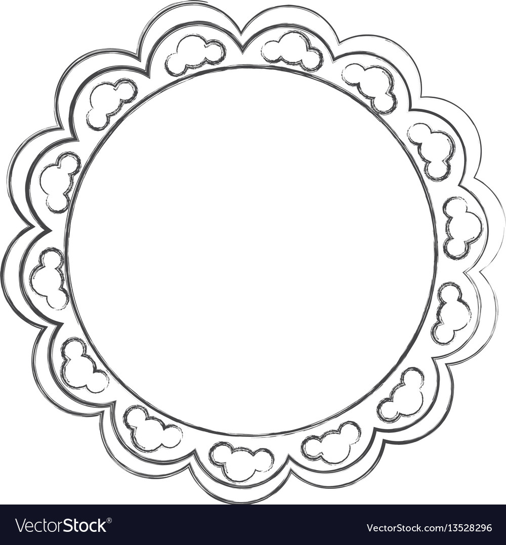 Contour emblem with abstract decorations icon vector image