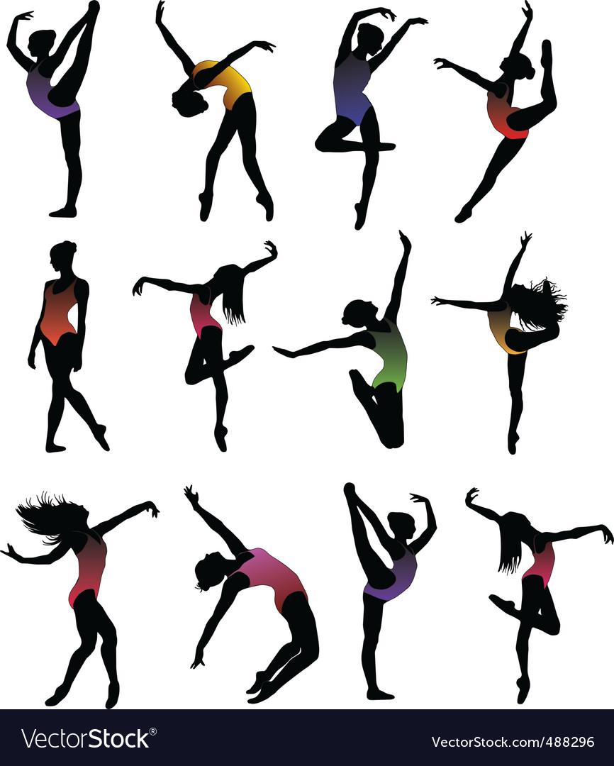 Dance girl ballet silhouettes vector vector image