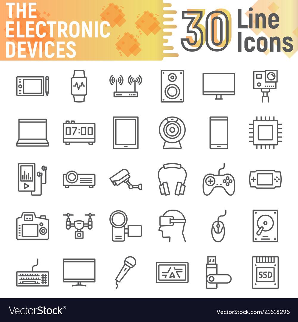 Electronic Devices Line Icon Set Media Symbols Vector Image