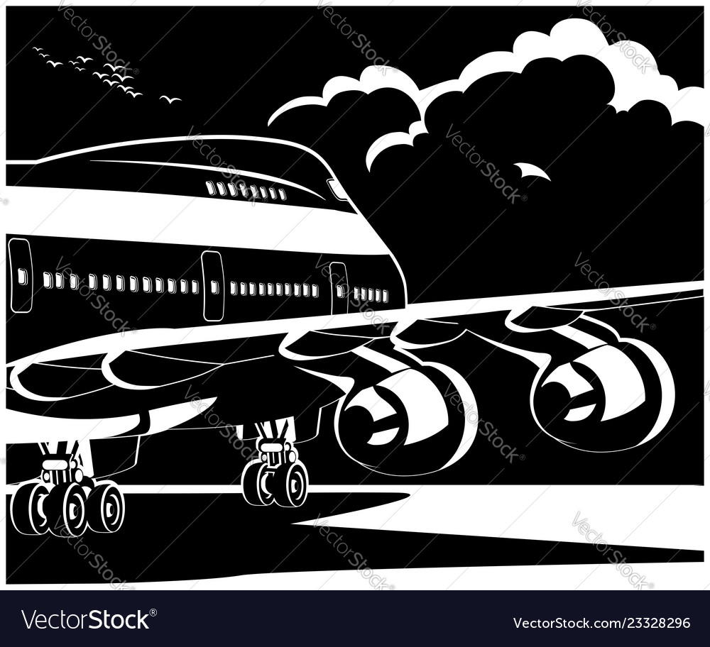 Modern jet airplane ready to take off