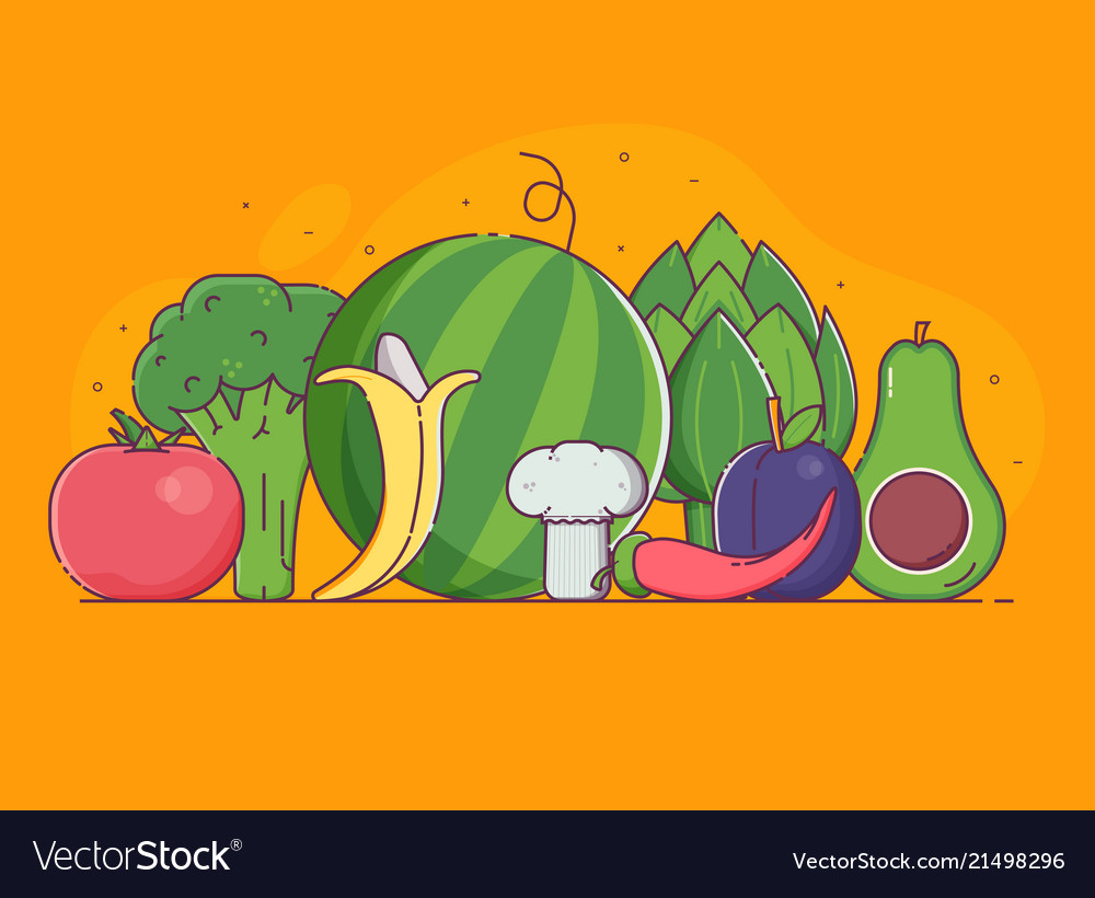 Organic concept with vegetables and fruits
