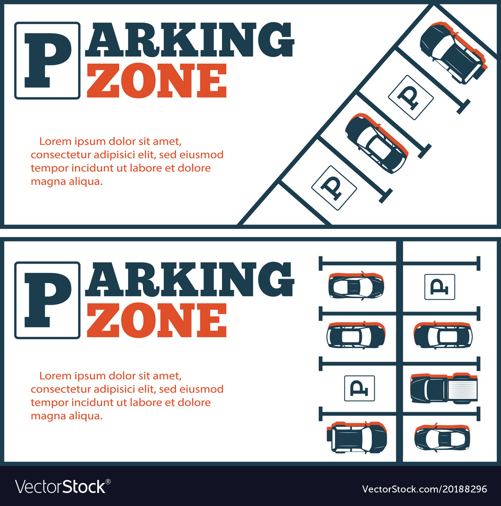 Parking zone flyers in minimalist style
