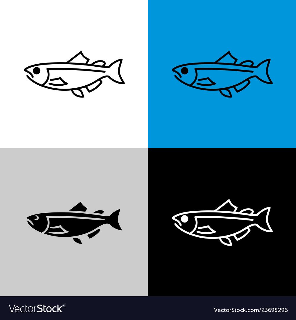 Salmon fish icon line style symbol of salmon