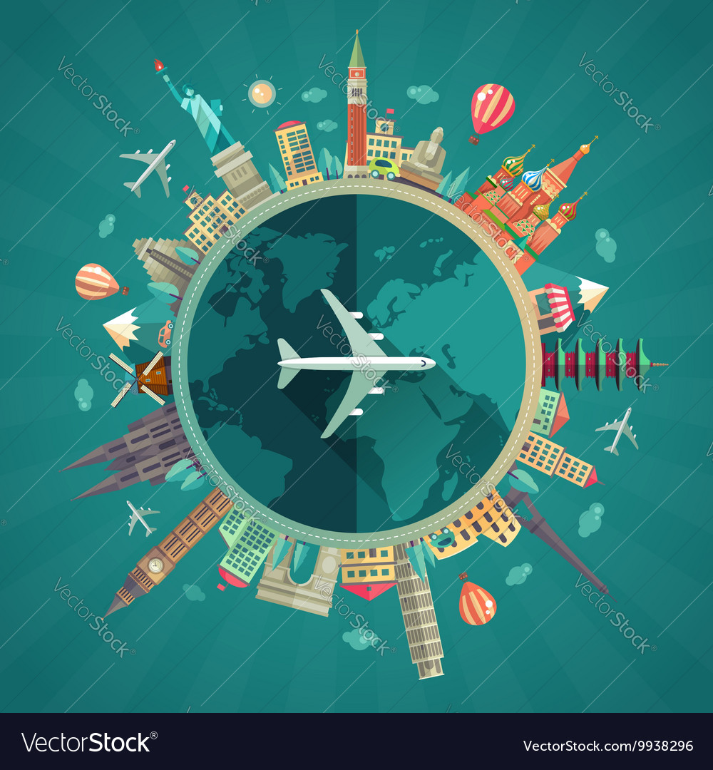 travel around the world flat design royalty free vector