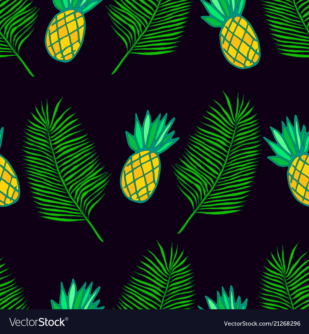 Tropical leaf palm and ananas seamless pattern