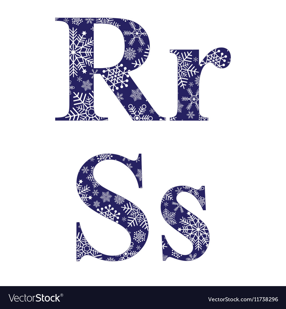 uppercase and lowercase letters r and s royalty free vector